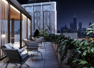 Rooftop terrace at the Robey Hotel Chicago cheap hotel